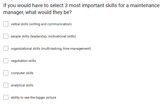 Skills for maintenance managers