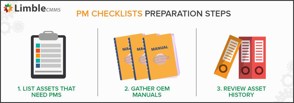 Preparations steps for preventative maintenance checklist