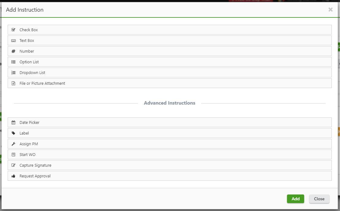 PM checklist field types