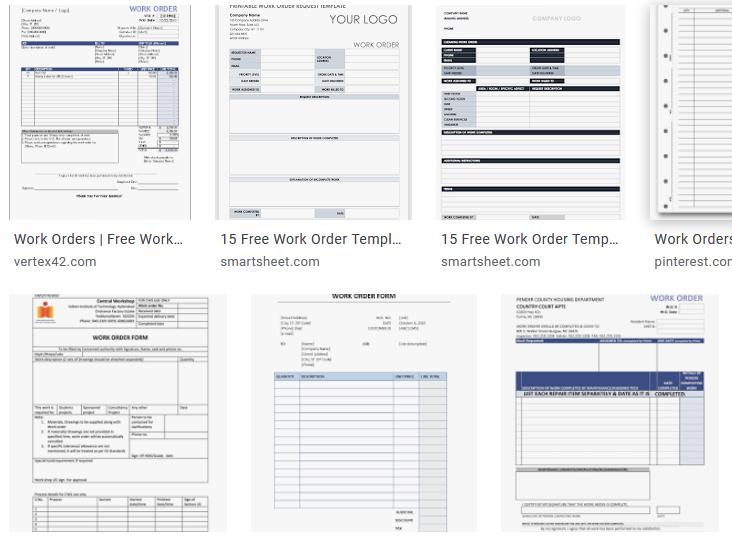 work order templates