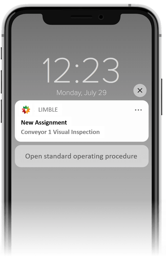 """Phone notification that says, """"New Assignment: Conveyor 1 Visual Inspection"""" with a button to open the standard operating procedure"""