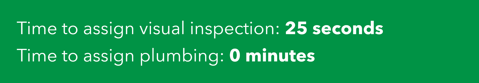 Standard operating procedure time investment: Time to assign visual inspection: 25 seconds. Time to assign plumbing: 0 minutes
