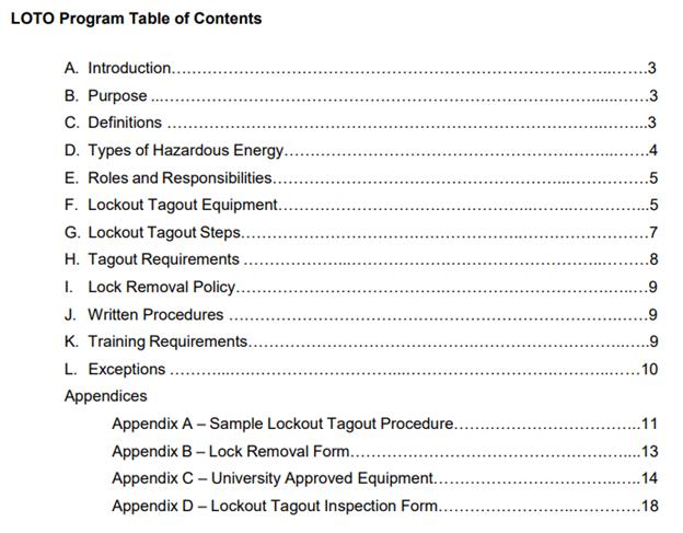 UCCS LOTO program content table