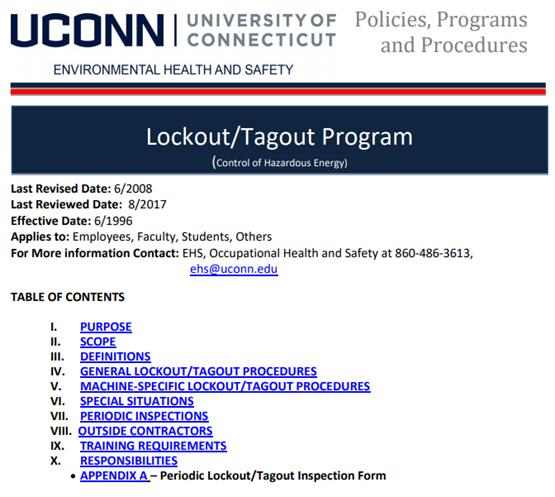 UCONN LOTO program content table