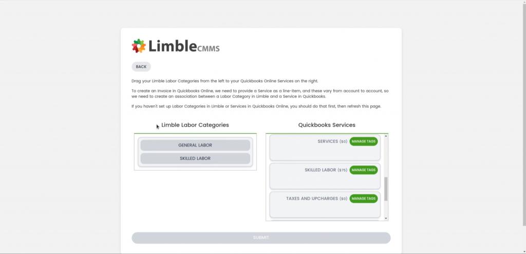 Quickbooks Limble Labor Categories