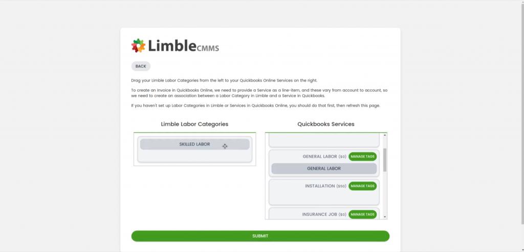 Limble Quickbooks Labor Categories