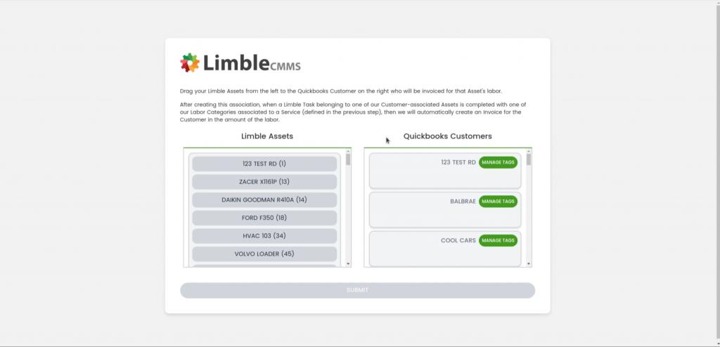 Limble CMMS Quickbooks Customers
