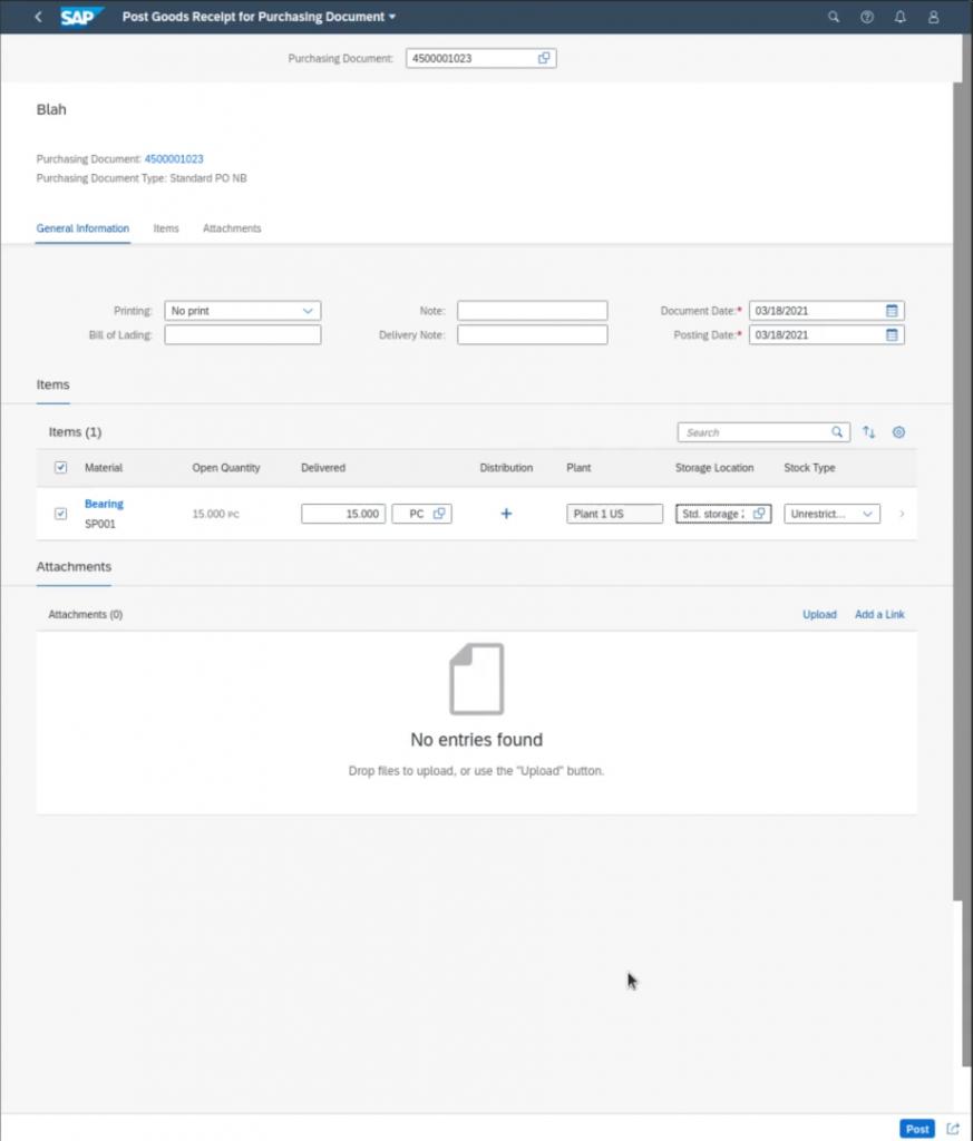 SAP Receiving Orders